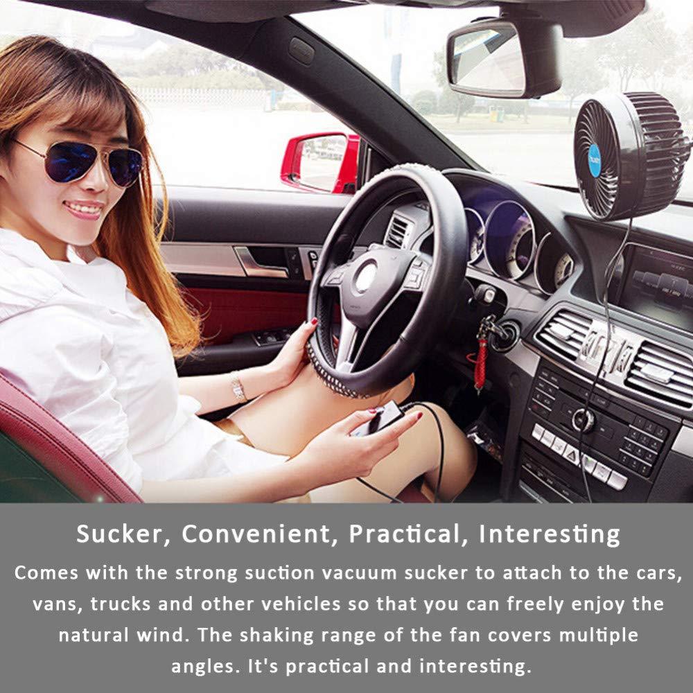 EXCOUP Auto Kfz L/üfter 12V Ventilator Einstellen Saugnapf K/ühlluftgebl/äse Stufenlose Drehzahl/änderungs Drehbare Auto K/ühlventilatoren Lufterfrischer