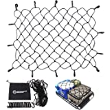 "Cargo Net by Outdoor Shock - Heavy Duty 47"" x 36"" Elastic Tie-Down Net with 14 Adjustable Hooks made out of 3"" x 3"" Mesh…"