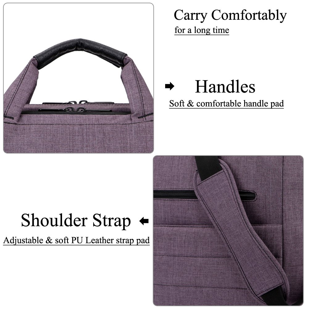 BRINCH 17.3 Inch Nylon Shockproof Carry Laptop Case Messenger Bag For 17-17.3 Inch Laptop/Notebook/MacBook/Ultrabook/Chromebook with Shoulder Strap Handles and Pockets (Dark Purple) by BRINCH (Image #6)