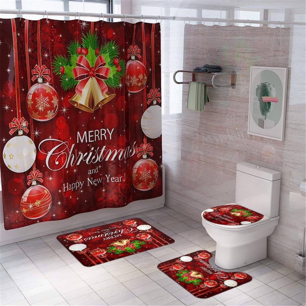 Shower Curtain for Christmas with Bell Pattern,Businda Happy New Year Decor Fabric Bathroom Curtains,Waterproof Polyester with 12 Hooks 70x70 Inch for Apartment,Hotel,Camper, Dorm, School Shower by Businda
