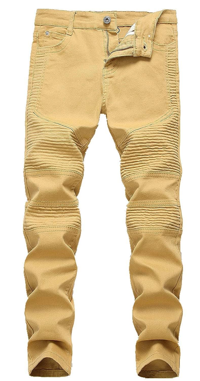Boys Slim Skinny Ripped Distressed Stretch Moto Biker Fashion Fit Denim Jeans