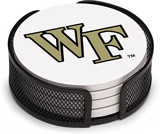 Wake Forest University Pattern Thirstystone VUWF2-HA17 Stoneware Drink Coaster Set with Holder
