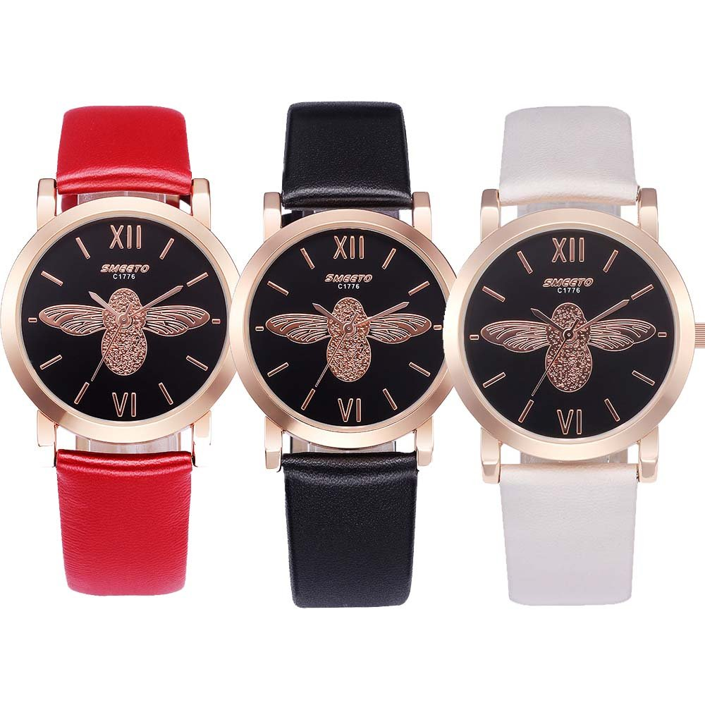 Yunanwa 3 PACK Women's Watches Waterproof Butterfly Leather Quartz Rose Golden Case Wedding Wristwatches (3pcs-C1776)