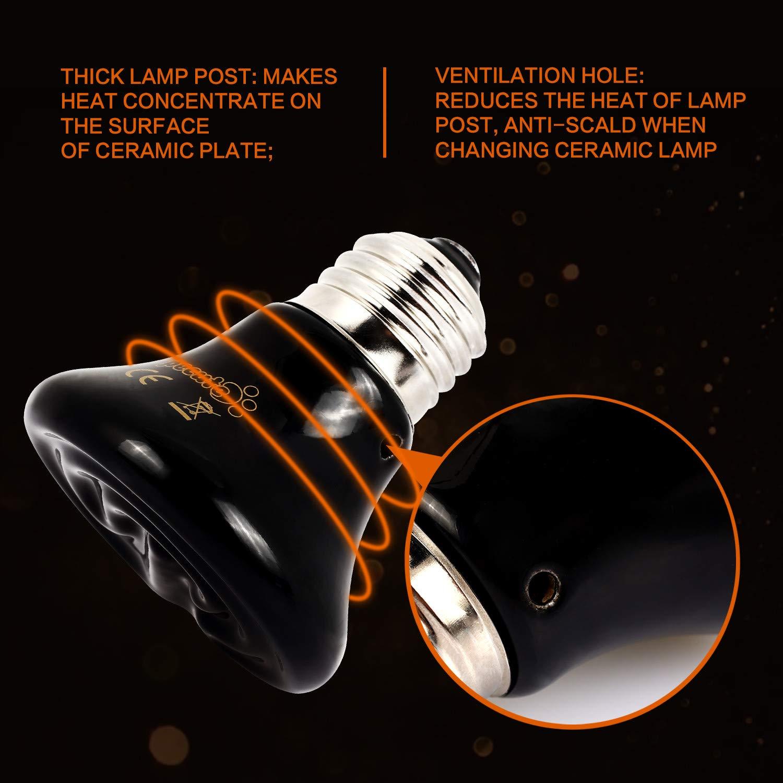 Pecute Heizung Keramik Waermelampe mit Schutzgitter und Anti-Biss-Rohr 100W
