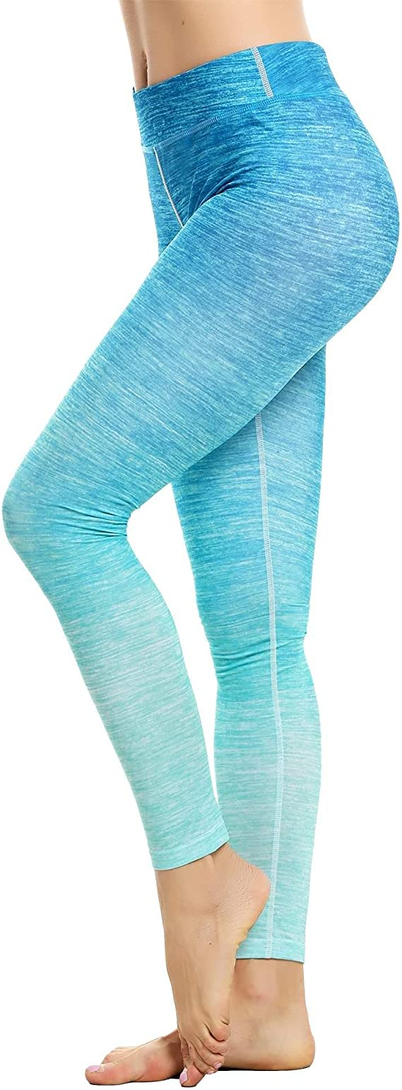 Coorun Pantalones mujeres Casual Color gradiente, Leggings de deporte Yoga