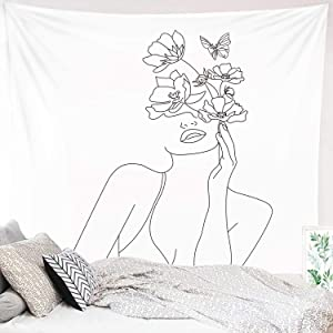 "Miytal Art Line Aesthetic Tapestry, Simple Women with Flower Butterfly Wall Hanging, Modern Minimalist Abstract Creative Sketch Wall Décor for Dorm Bedroom Living Room – 59.1"" x 80"""