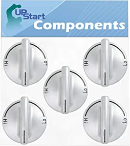 5-Pack 74007733 Gas Range Cooktop Burner Knob Replacement for KitchenAid KGCD807XBL00 - Compatible with WP7733P410-60 Top Burner Control Knob