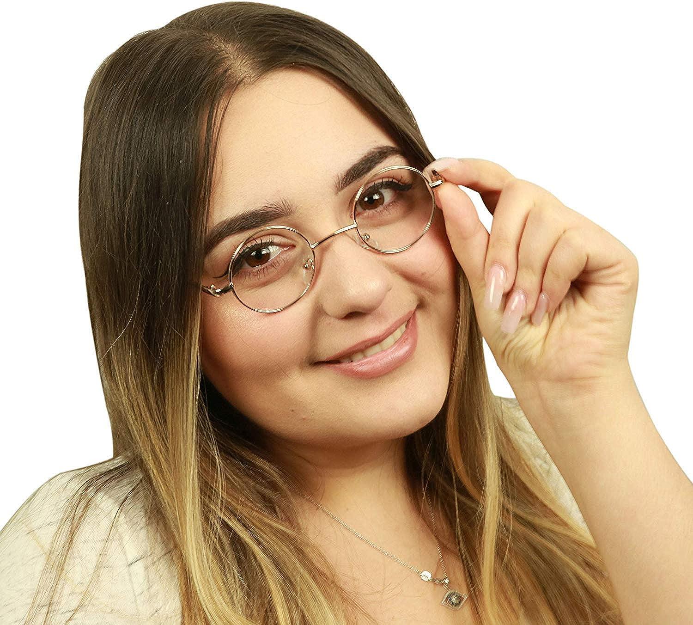 ShadyVEU Small Round Eye Glasses Non Prescription UV Protection John Lennon Style Metal Frame Clear Lens
