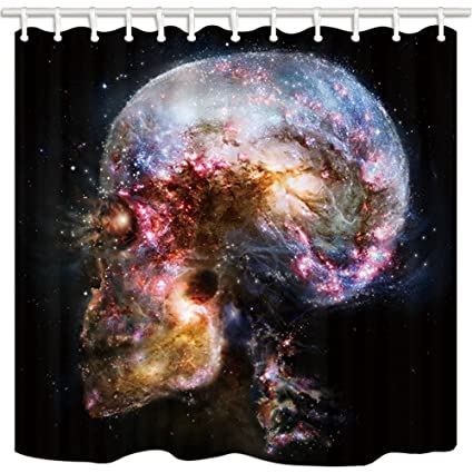 NYMB Interstellar Shower Curtain Science Fiction Universe Skull Galaxy Mildew Resistant Polyester Fabric