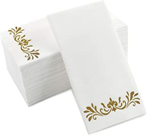 Gold Dinner Napkins, Disposable Party Napkins, Paper Napkins Decorative, Linen Feel Disposable Hand Towels for Wedding, Guest Bathroom & More - White with Gold, 100 Pack, 8.25 x 4 Inches