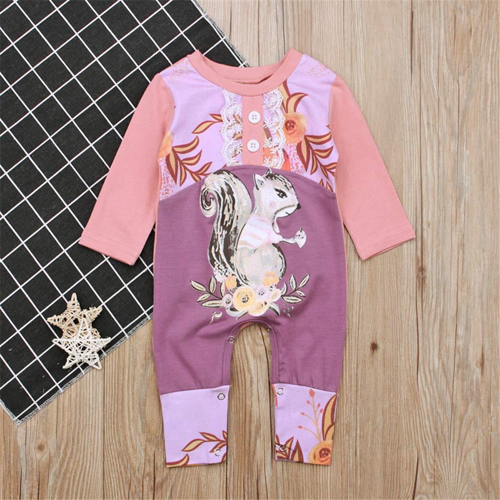Hot Newborn Baby Girls 3-24 Months Pink Squirrel Print Romper Bodysuit Jumpsuit Outfits