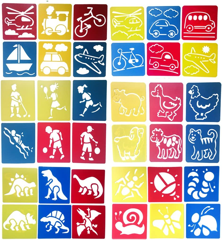 Hillento 6 Packs(36 Pieces) Painting Stencil Plastic Animal Children's Drawing Templates for Kids Crafts, Six Different Patterns of Painting Templates, Washable Template for School Projects