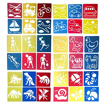 Amazon Hillento 6 Packs36 Pieces Painting Stencil Plastic