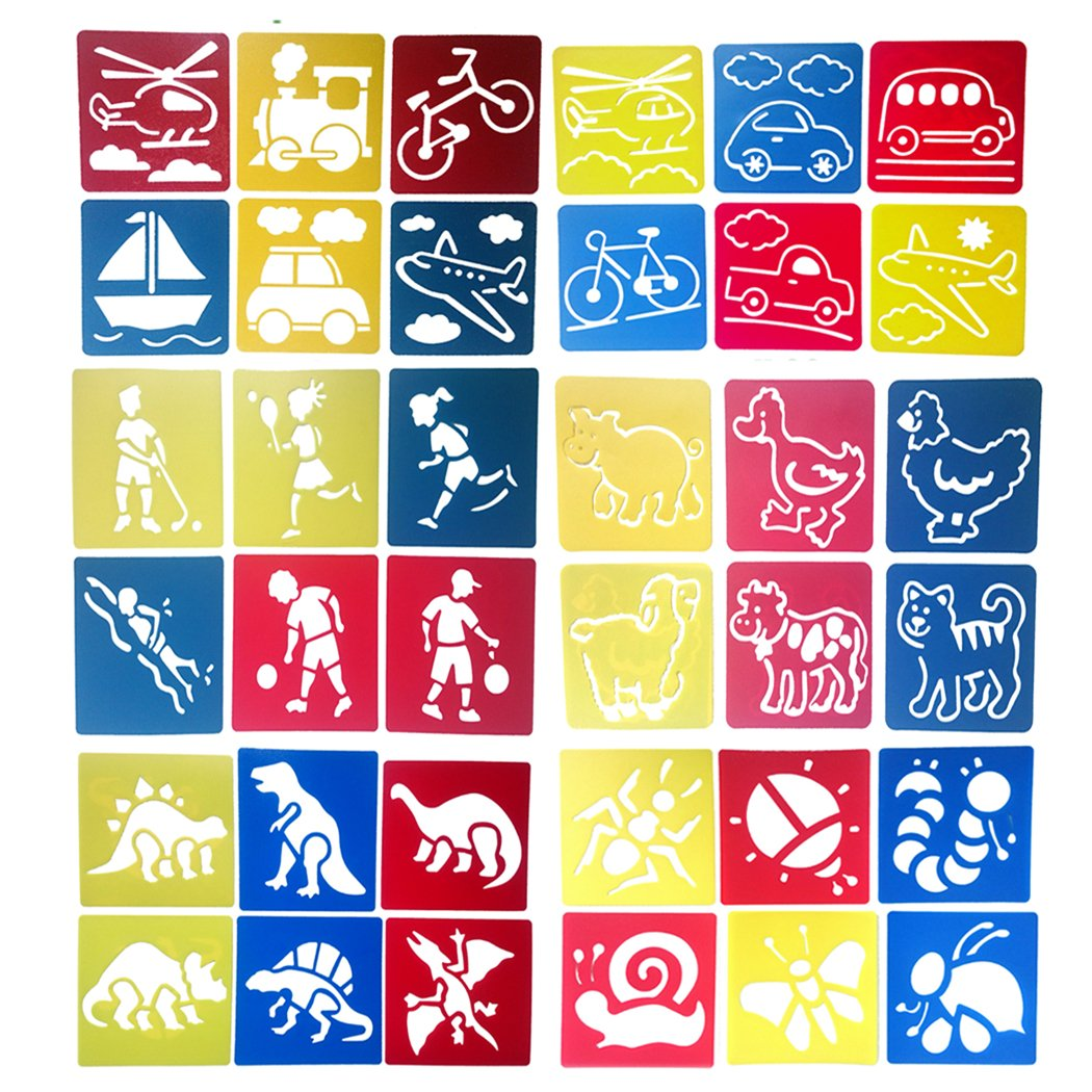 Hillento 6 Packs(36 Pieces) Painting Stencil Plastic Animal Children's Drawing Templates for Kids Crafts, Six Different Patterns of Painting Templates,Washable Template for School Projects