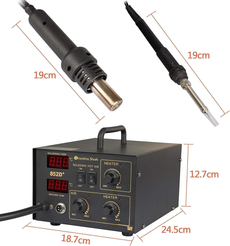 con pantalla LED de temperatura precisa (Tipo de bomba de aire) Grandma Shark Estaci/ón de soldador 2 en 1 kit de soldadura de estaci/ón de desoldadura 852D