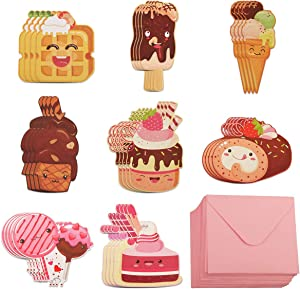 YiYa Valentine's Day Cards for Kids - 32 Valentine Cartoon Food Designs Cards + 32 Pink Gift Envelopes for School Valentine's Day Supplies Kids Party Classroom Gift Exchange
