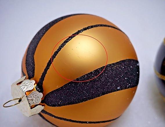 Christbaumkugeln Schwarz Gold.2 Weihnachtskugeln O 10cm Gold Schwarz Glas Christbaumkugeln