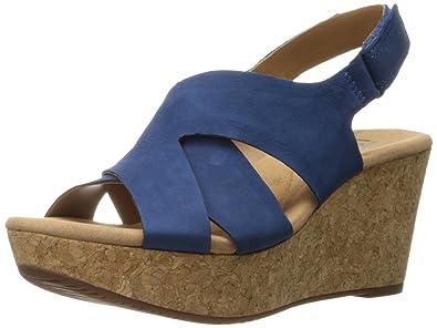 d932d1f1de61 CLARKS Women s Annadel Fareda Wedge Sandal Dark Blue Nubuck 8.5 ...