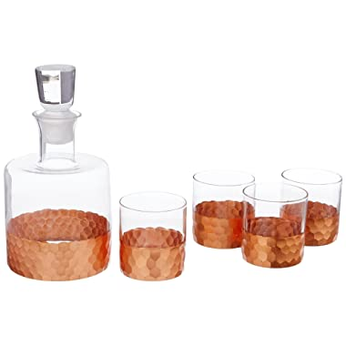 Fitz and Floyd Daphne 5 Piece Whiskey Set, Copper