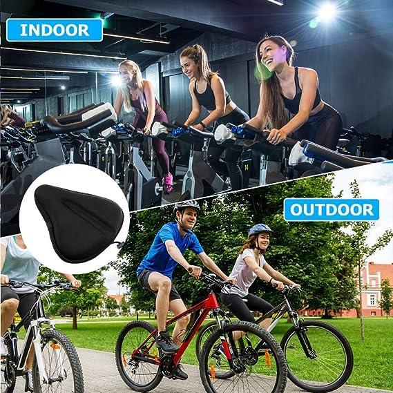 Heimtrainer auvstar Breiter Sattelbezug Gel Fahrrad,Weicher Fahrradsattel /Überzug,Sattel/überzug Gepolstert Mountainbike,E-Bike,Non-Slip Design f/ür Damenrad