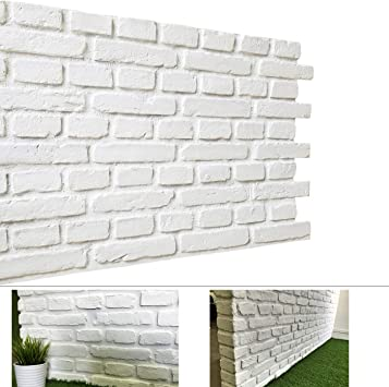 3d Brick Panels For Interior And Exterior Diy Wall Decoration Rustic Brick Design Faux Brick Panels Brick Design Pack Of 4 Tiles Compositive Vintage White Matt Home Improvement