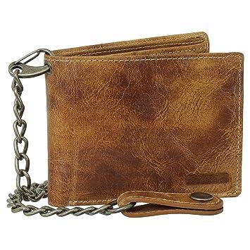 ddf266eefe9271 Luxus Leder Bikerbörse mit Kette Geldbörse Portemonnaie Geldbeutel 12,5 cm  Farbe beige