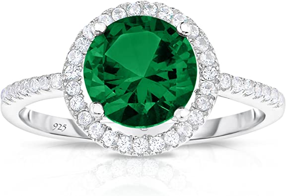 Unique Royal Jewelry Sterling Silver Created Green Emerald With
