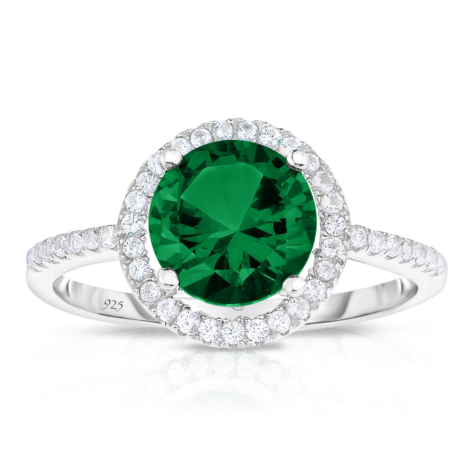 Sterling Silver Created Green Emerald with White CZ Helo Jacket Princess Diana Kate Engagement Ring (5)