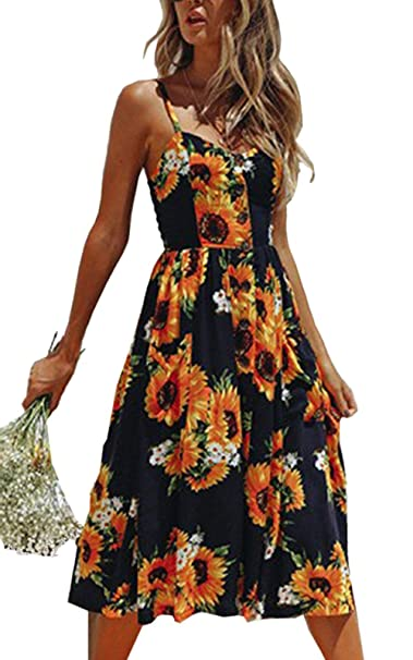 9aed1a8810 Women s Floral Bohemian Spaghetti Strap Button Down Swing Midi Sundresses  with Pockets(Z-0822Sunflower