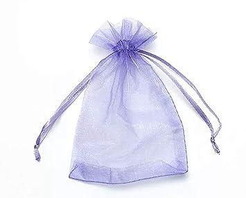 ONW Bolsas de Organza para Envolver Regalo Detalle de Boda Joyas Caramelo Dulces Bolsitas para Regalos ,Lavanda 100 PCS 9x12 cm