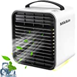Mikikin Portable Air Conditioner Fan, Personal Space Evaporative Air Cooler Rechargeable USB Desk Fan with LED Light, 3 Speed