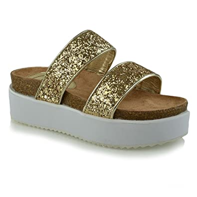 a0c90f4329a ESSEX GLAM Women s Platform Wedge Heel Strappy Chunky Gold Glitter Flatform  Sandals 5 B(M