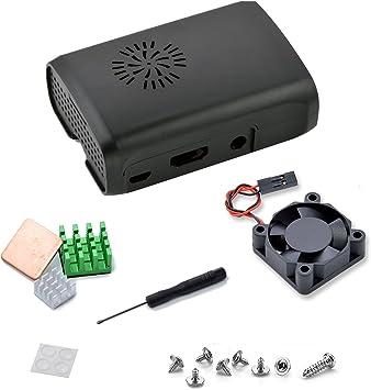 Aukru Negro Caja + Disipador de Calor + Mini Fan para Raspberry Pi ...