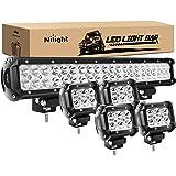 Nilight - ZH003 20Inch 126W Spot Flood Combo Led Light Bar 4PCS 4Inch 18W Spot LED Pods Fog Lights for Jeep Wrangler…