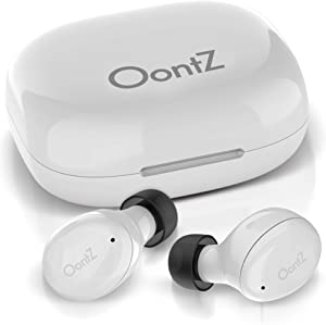 OontZ True Wireless BudZ – Bluetooth 5.0 Wireless Earbuds with Amazing Sound and Rich Bass, 3 Hours Playtime with 9 Additional from Compact Charging Case, Sweatproof Sports Earbuds (White)