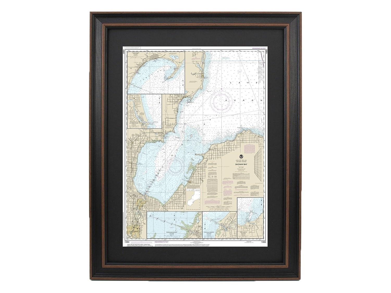 Framed Nautical Chart ; NOAA 14863 Lake Huron、Saginawベイ   B075F9TQ59