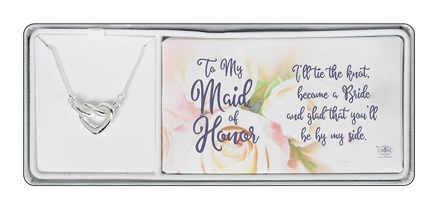 Bridal Party Thanks For Being By My Side Drop Pendant 18 Inch Silver Plated Necklace in Jewelry Box