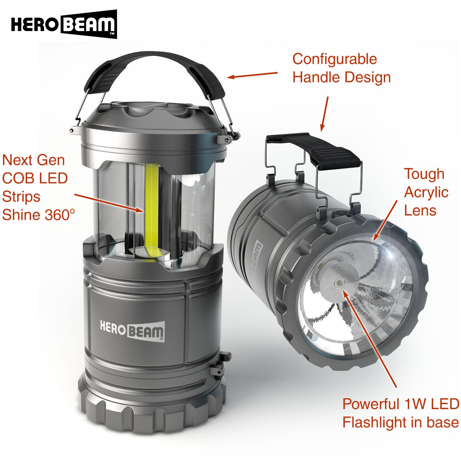HeroBeam LED Lantern V2.0 with Flashlight – Latest COB Technology emits 300 LUMENS! – Collapsible Camp Lamp – Great Light for Camping, Car, Shop, Attic, Garage – 5 Year Warranty