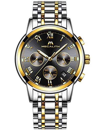 47db38b287 Mens Stainless Steel Chronograph Watches Men Luxury Waterproof Luminous Date  Calendar Analogue Counts Watch Gents Sports