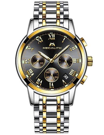 d0acf56b5ad9 Relojes Hombre Acero Inoxidable Reloj de Pulsera de Lujo Moda Cronometro  Impermeable Fecha Calendario Analogicos Cuarzo Reloj Militar Deportivo  Luminoso ...