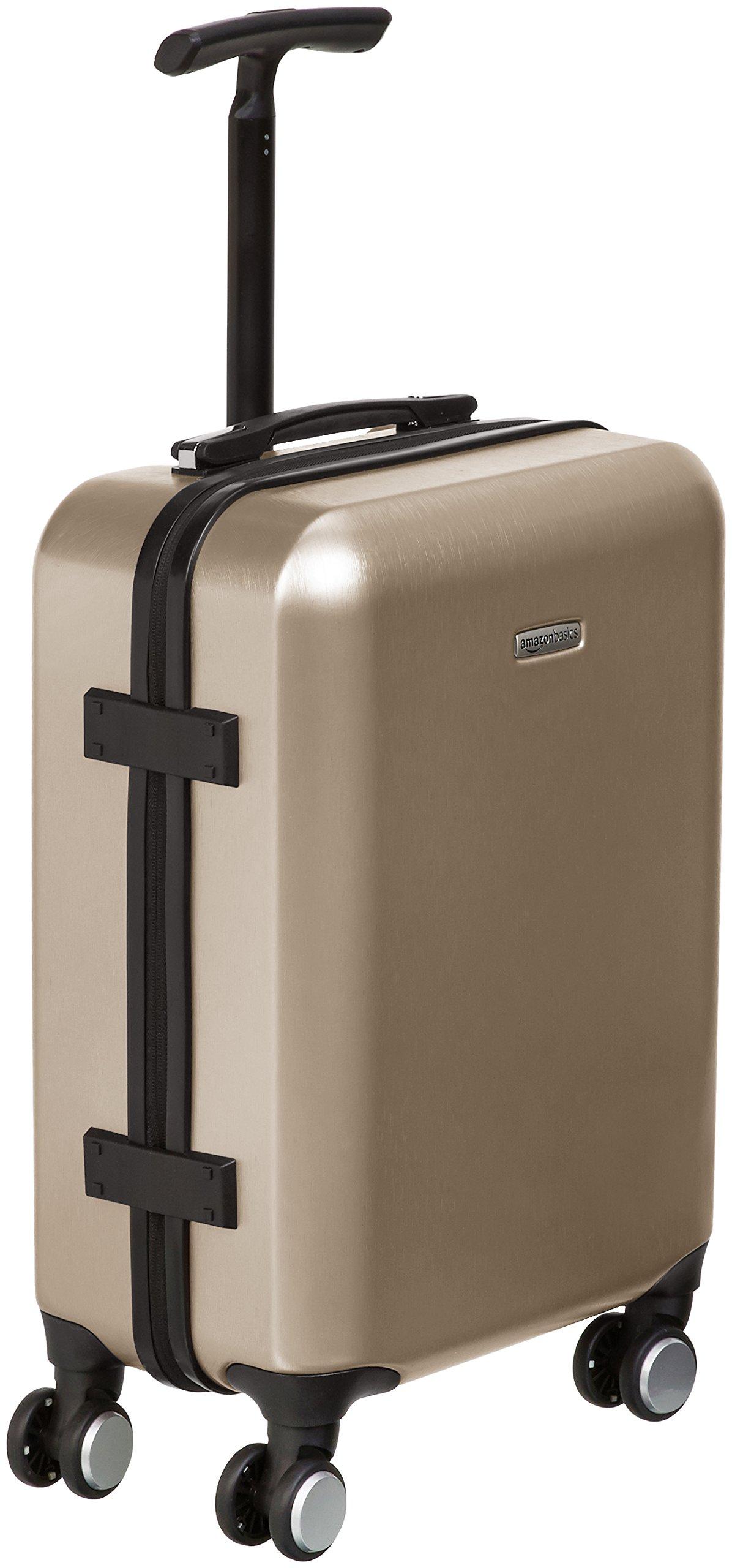 AmazonBasics Metallic Hardshell Carry-On Spinner Luggage Suitcase with TSA Lock - 20 Inch, Gold