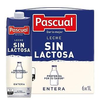 Pascual Leche Sin Lactosa Entera - Paquete de 6 x 1000 ml - Total: 6000