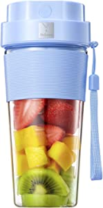 Portable Blender, 300W Rechargeable Personal Blender for Shakes and Smoothies, Mini Blender with Tritan Travel Cup for Sports, Travel, Gym, Home and Office, Blue