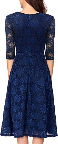 Noctflos Womens 3//4 Sleeves Lace Fit /& Flare Midi Cocktail Dress for Women Party Wedding
