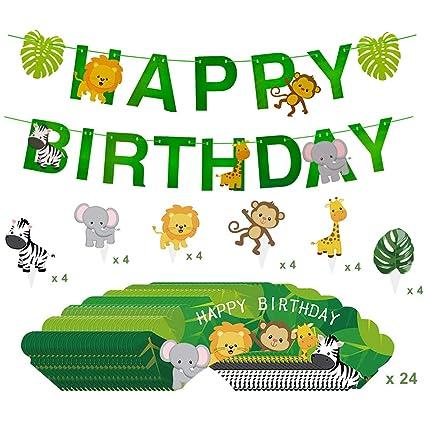 Amazon.com: Decoración de cumpleaños con diseño de animales ...