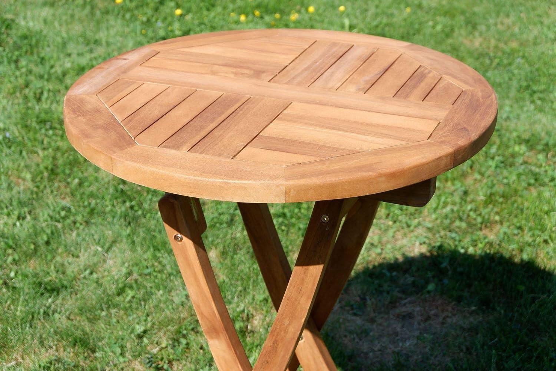 ASS Teak Klapptisch Holztisch Gartentisch Garten Tisch rund 41cm JAV-Coamo  Holz von