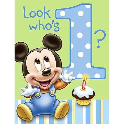 Amazon Com Hallmark Mickey S 1st Birthday Invitations 8 Ct Toys