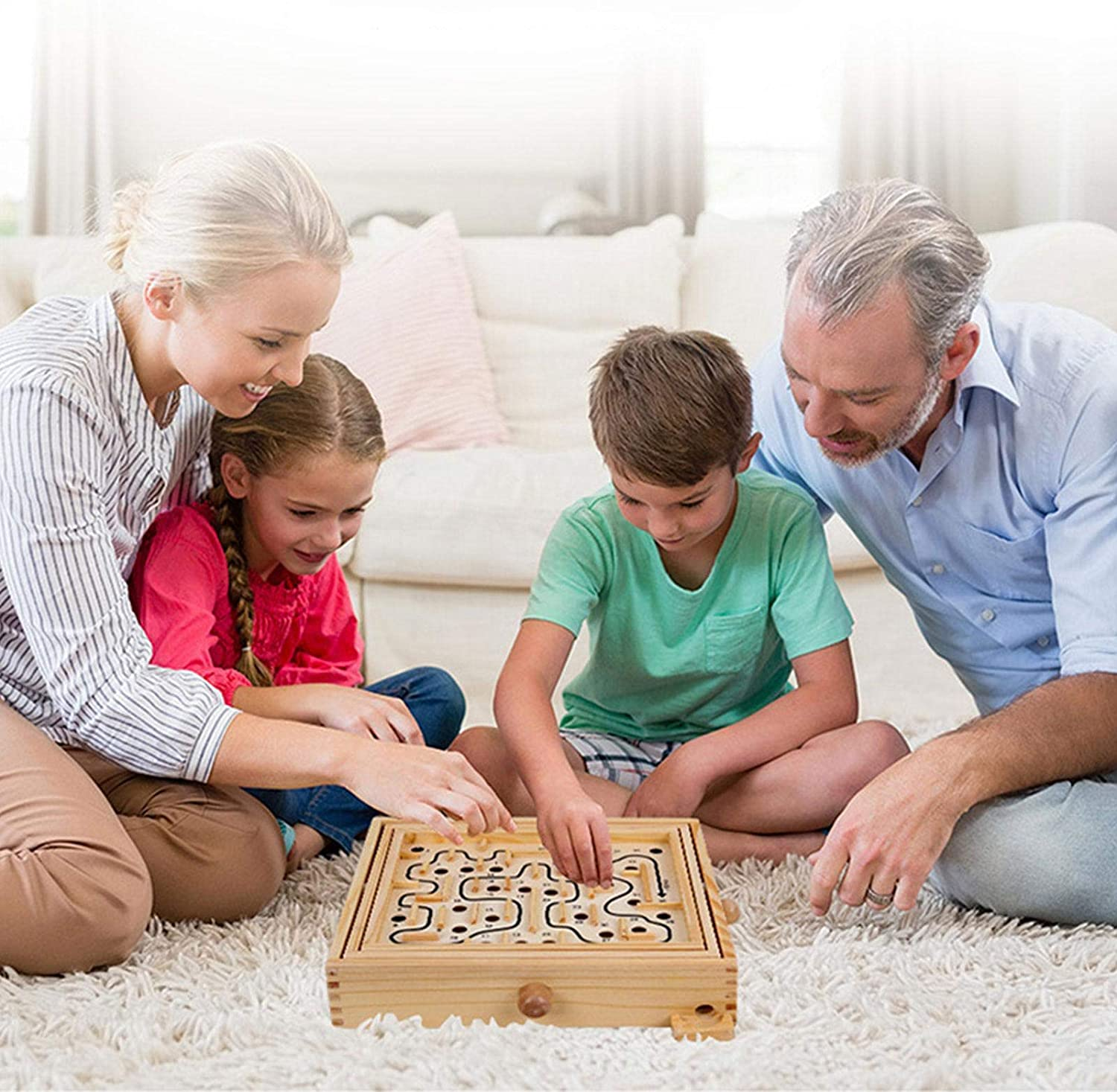 A Classic Favorite Game Gift for Kids Boys Girls Age 6+ Wooden Labyrinth Toy With 60 Holes Puzzle Game for Family Activity Premium Maze Game Labyrinth Board Game