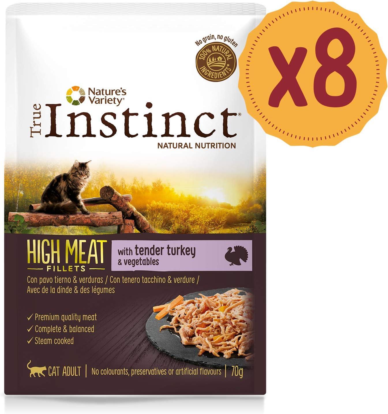 True Instinct High Meat Adult - Natures Variety - Filetes con Pavo y Verduras para Gatos 70gr - Pack de 8