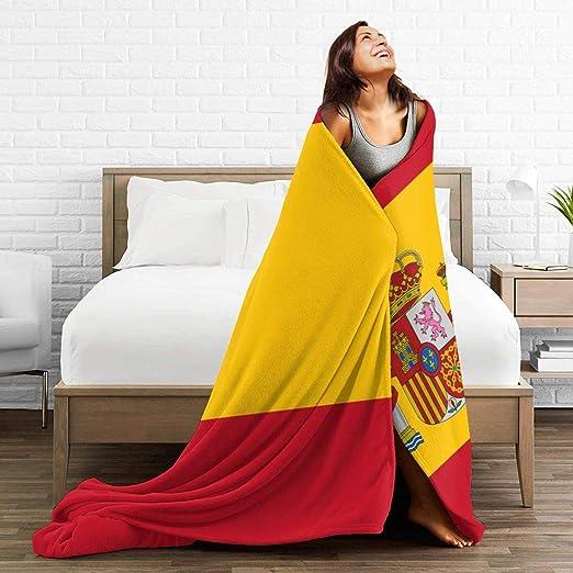 PecoStar - Manta de franela con diseño de la bandera de España - Manta suave de franela para sofá y sofá - Manta de franela suave, negro, 80